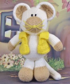 knitted mouse pattern in white soft toy yellow cardigan