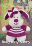 KBP-333 - Burgundy Bunny knitting pattern soft toy